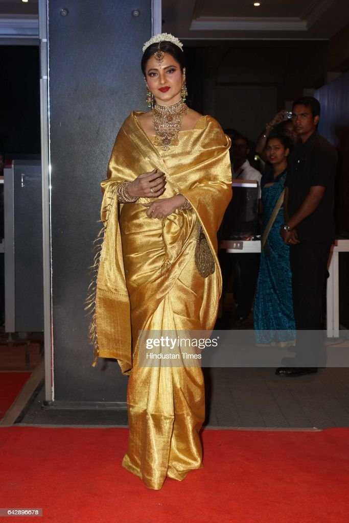 Bollywood actor Rekha during the wedding reception of Bollywood actor Neil Nitin Mukesh and his wife Rukmini Sahay on February 17 2017 in Mumbai India