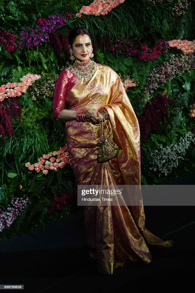 Bollywood actor Rekha during wedding reception of Virat Kohli and Anushka Sharma at St Regis Hotel Lower Parel on December 26 2017 in Mumbai India...