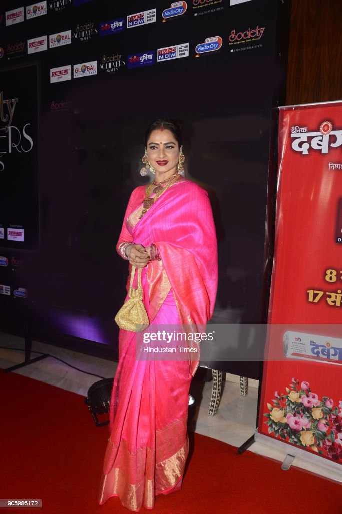Bollywood actor Rekha poses for the picture during Society Achiever Awards 2018 on January 14 2018 in Mumbai India