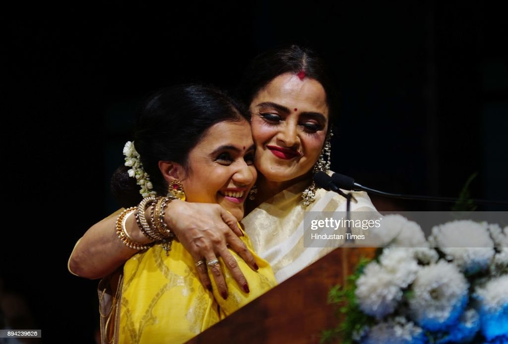 Bollywood actor Rekha receiving the first Smita Patil Memorial Award 2017 for her contribution in the field of cinema by the hands of well known...