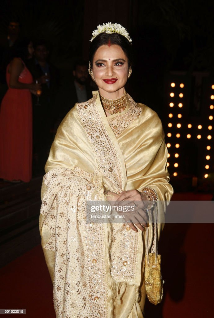 Bollywood actor Rekha spotted during the awards function at Taj Lands End Bandra on March 28 2017 in Mumbai India