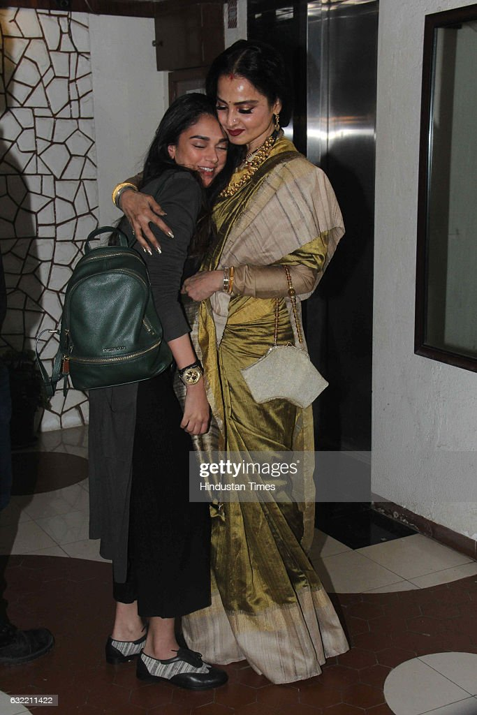 Bollywood actor Rekha with Aditi Rao Hydari during the birthday party of Javed Akhtar at his residence in Juhu on January 17 2017 in Mumbai India