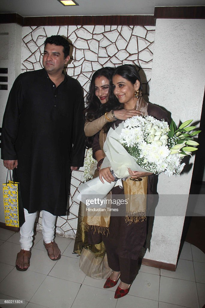 Bollywood actor Rekha with producer Siddharth Roy Kapur and Vidya Balan during the birthday party of Javed Akhtar at his residence in Juhu on January.