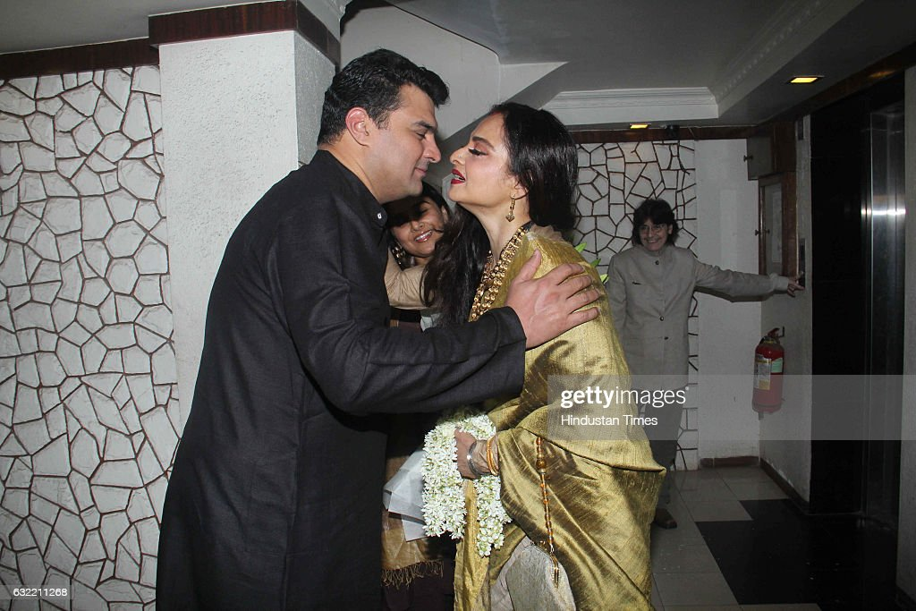 Bollywood actor Rekha with producer Siddharth Roy Kapur during the birthday party of Javed Akhtar at his residence in Juhu on January 17 2017 in...