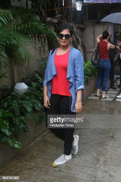 Bollywood actor Richa Chadda during a screening of flm 'Jia Aur Jia' at a studio in Versova Andheri on June 27 2017 in Mumbai India
