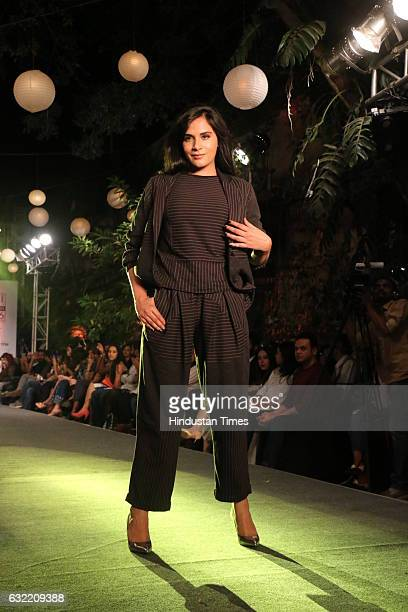 Bollywood actor Richa Chadda during the Elle Graduates fashion show organised by Elle magazine at Great Eastern Home Byculla on January 17 2017 in...
