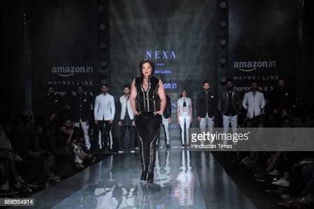 Bollywood actor Richa Chadda walks the ramp for Designer Rohit Kamra during the Amazon India Fashion Week Autumn Winter 2017 at Jawahar Lal Nehru...