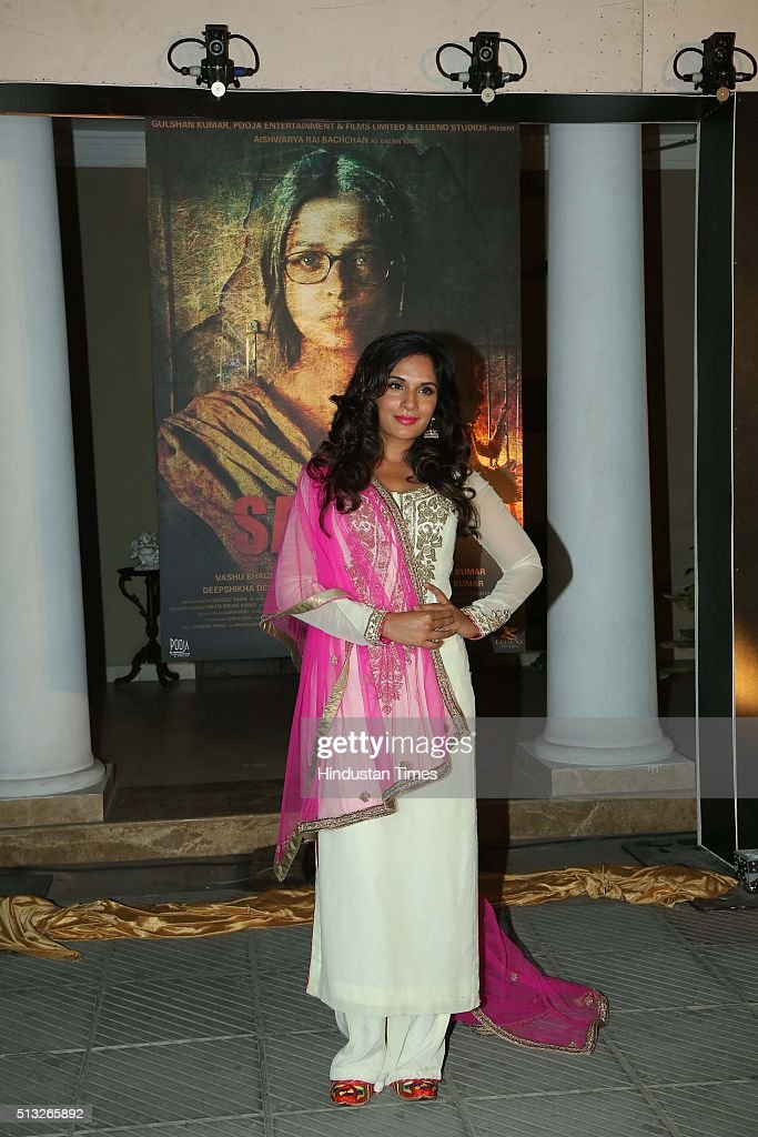 Bollywood actor Richa Chaddha during a poster launch of film Sarbjit at Bharatiya Janata Party President Amit Shah`s residence on February 29 2016 in.