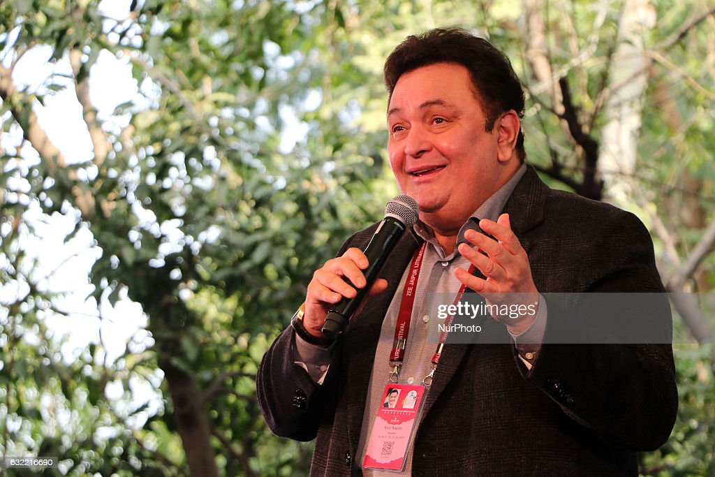 Bollywood actor Rishi Kapoor speaks during the ZEE Jaipur Literature Festival at Diggi Palace in Jaipur , Rajasthan , India on 20th Jan, 2017.