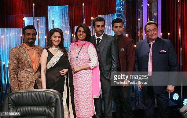 Bollywood actor Rishi Kapoor with his wife Neetu Kapoor and son Ranbir Kapoor on dance reality show Jhalak Dikhhla Jaa for the promotion of there...