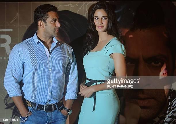 Bollywood actor Salman Khan and actress Katrina Kaif attend a promotional event for their upcoming film Ek Tha Tiger in Mumbai on July 12 2012 Ek Tha...