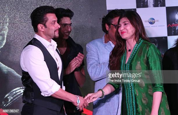 Bollywood actor Salman Khan and bollywood playback singer Alka Yagnik at the launch of Armaan Malik's music album at Mumbai on 30th January 2014