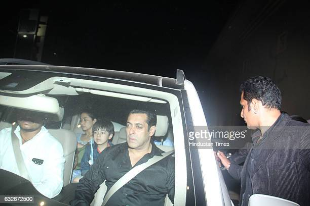Bollywood actor Salman Khan arrives at JW Marriott accompanied by young costar Matin Rey Tangu from his upcoming movie Tubelight for the party by...