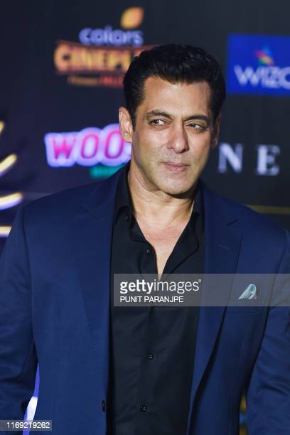 Bollywood actor Salman Khan arrives for the 20th International Indian Film Academy Awards at NSCI Dome in Mumbai on September 18 2019
