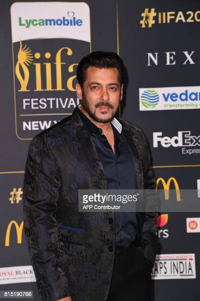 Bollywood actor Salman Khan arrives for the IIFA Awards July 15 2017 at the MetLife Stadium in East Rutherford New Jersey during the 18th...