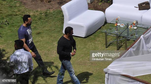 Bollywood actor Salman Khan at farm house of Sukh Ram at Surth on May 26 2015 in Mandi India Salman and his family members were here to attend the...