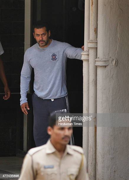 Bollywood actor Salman Khan at his residence a day after verdict in hit and run case on May 7 2015 in Mumbai India Mumbai Sessions Court found...