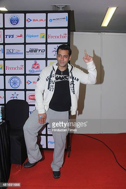 Bollywood actor Salman Khan at Pro Kabaddi Match at NSCI Worli on July 21 2015 in Mumbai India