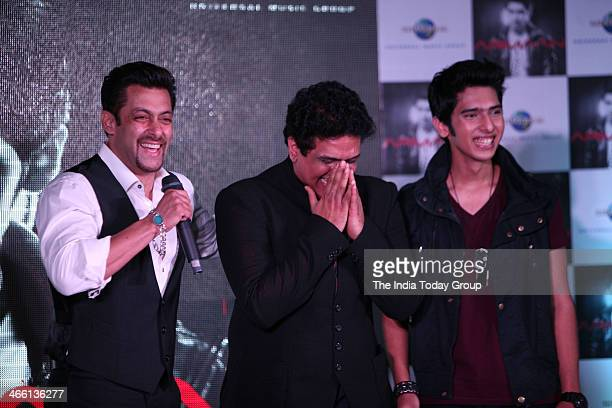 Bollywood actor Salman Khan at the launch of Armaan Malik's music album with Daboo Malik and Arman Malik at Mumbai on 30th January 2014