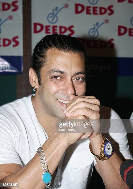 Bollywood actor Salman Khan at the opening of an art exhibition for Deeds Institute for the Deaf at in Mumbai on Friday July 31 2009