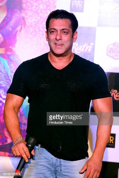 Bollywood actor Salman Khan at the trailer launch of Love Ratri on August 6 2018 in New Delhi India The movie marks Hindi film debut of Salman Khan's...