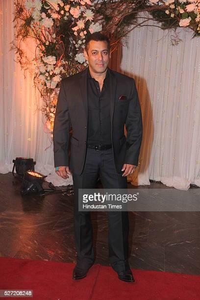 Bollywood actor Salman Khan at wedding reception of couple Bipasha Basu and Karan Singh on April 30 2016 in Mumbai India Bipasha Basu got married to...