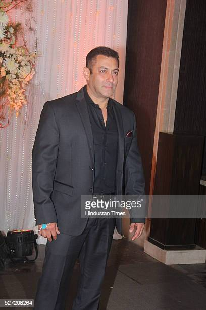 Bollywood actor Salman Khan at wedding reception of couple Bipasha Basu and Karan Singh on April 30 2016 in Mumbai India Bipasha Basu got married to...