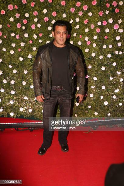 Bollywood actor Salman Khan attending MNS chief Raj Thackeray's son Amit Thackeray's wedding reception at the St Regis on January 27 in Mumbai India...