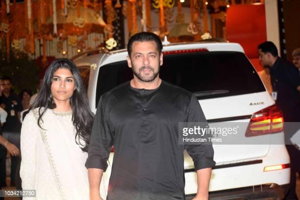 Bollywood actor Salman Khan attends the Ganesh Chaturthi festival celebrations at Antilia Mukesh Ambani's residence Nepenan Sea Road on September 13...