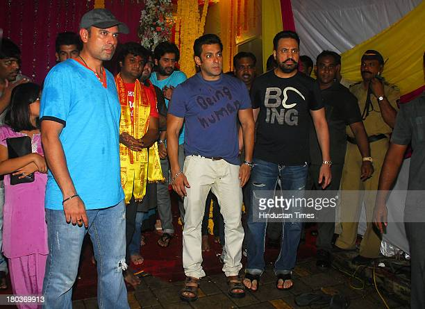 Bollywood actor Salman Khan during Ganpati immersion ceremony at his sister Alvira's residence Bandra on September 10 2013 in Mumbai India