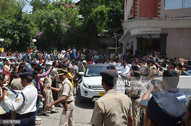 Bollywood actor Salman Khan leaving farm house of Sukh Ram at Surth in car on May 26 2015 in Mandi India Salman and his family members were here to...