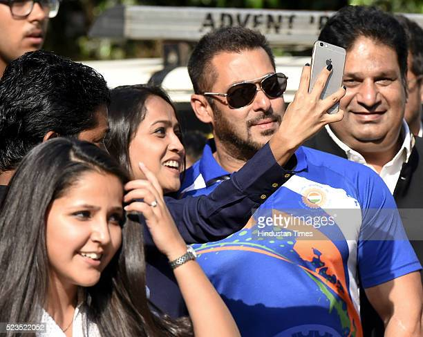 Bollywood actor Salman Khan named as Indian contingents Goodwill Ambassador for Rio Olympics 2016 after a press conference at IOA Bhawan on April 23...