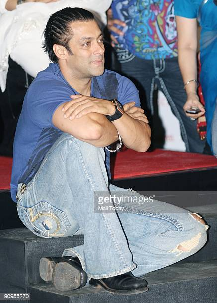 Bollywood actor Salman Khan poses during a promotional event for his upcoming movie 'Wanted' in Mumbai on Wednesday September 16 2009