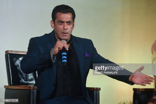 Bollywood actor Salman Khan speaks during a press conference ahead ofthe 20th International Indian Film Academy Awards in Mumbai on September 5 2019
