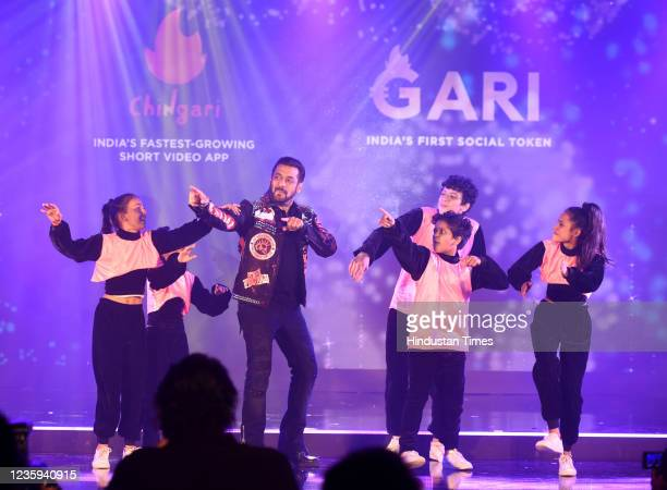 Bollywood actor Salman Khan unveiled the launch of India's first ever social crypto token by Chingari - Gari Coin at Taj Lands End, on October 16,...