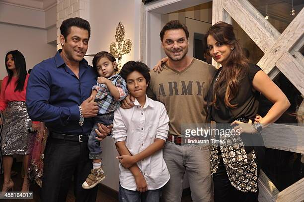 Bollywood actor Salman Khan with brother Sohail Khan his wife Seema Khan and their kids Yohaan and Nirvaan at the launch of Bandra 190 a luxury...