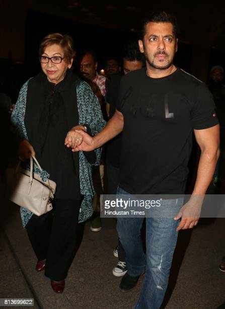 Bollywood actor Salman Khan with Helen spotted at airport on July 11 2017 in Mumbai India