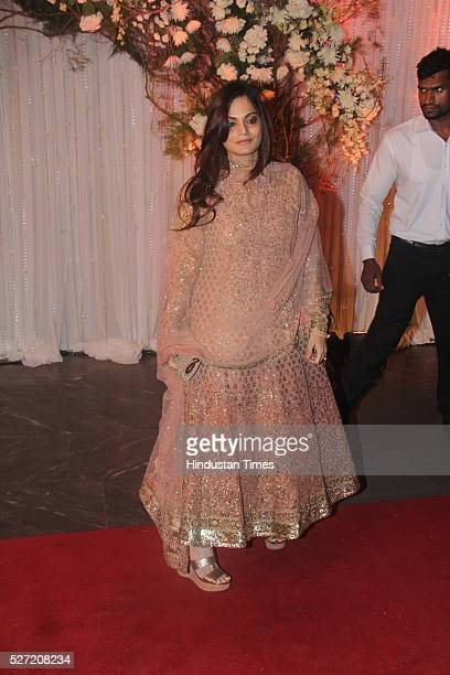 Bollywood actor Salman Khan's elder sister Alvira Khan at wedding reception of couple Bipasha Basu and Karan Singh on April 30 2016 in Mumbai India...