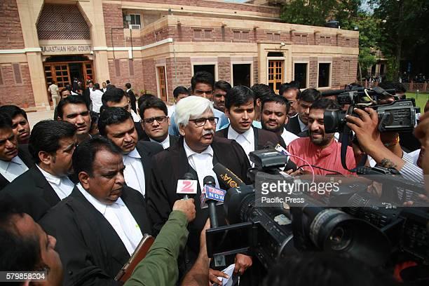 COURT JODHPUR RAJASTHAN INDIA Bollywood actor Salman Khan's HighCourt lawyer Mahesh boda speek with media at out side High court after Salman Khan...