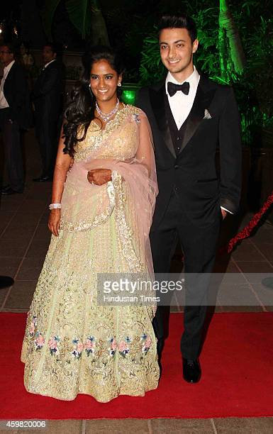 Bollywood actor Salman Khan's sister Arpita Khan along with her husband Aayush Sharma during her marriage reception at Taj Lands End Bandra on...