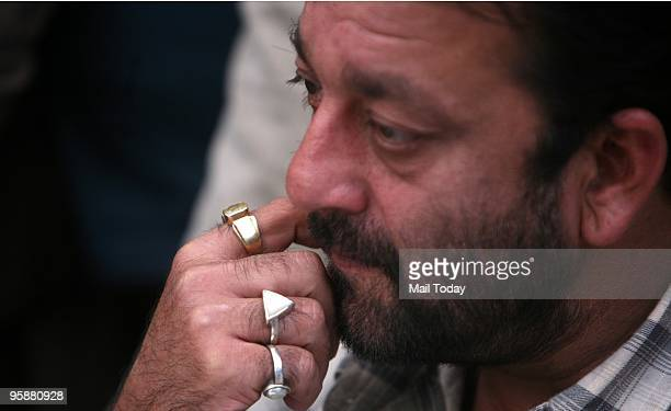 Bollywood Actor Sanjay Dutt During a Press Conference with Samajwadi Party Leader in New Delhi on Monday January 18 2010