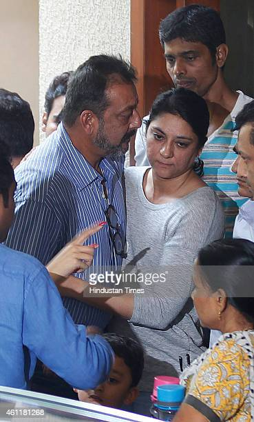 Bollywood actor Sanjay Dutt is seen off by his sister Priya Dutt as he leaves for Yerawada Jail to serve the remainder of his term after 14daylong...