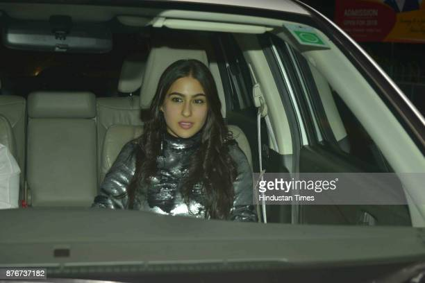 Bollywood actor Sara Ali Khan arrives at party thrown by Farha khan for English singer ED Sheeran at her residence Oberoi sky high Andheri West on...