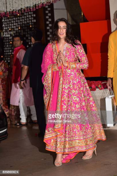 Bollywood actor Sara Ali Khan during the Ganesh Puja hosted by Mukesh Ambani Chairman of Reliance Industries Ltd at his residence to celebrate Ganesh...