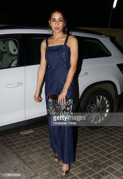 Bollywood actor Sara Ali Khan during the special screening of a movie Lukka Chuppi at Juhu on March 1 2019 in Mumbai India