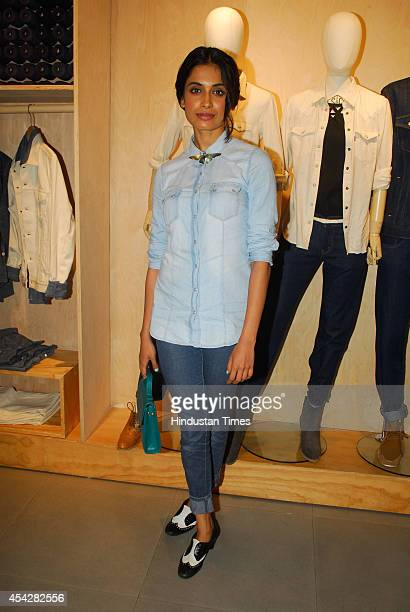 Bollywood actor Sarah Jane Dias during the preview and launch of Khadi Collection by Levis on August 26 2104 in Mumbai India