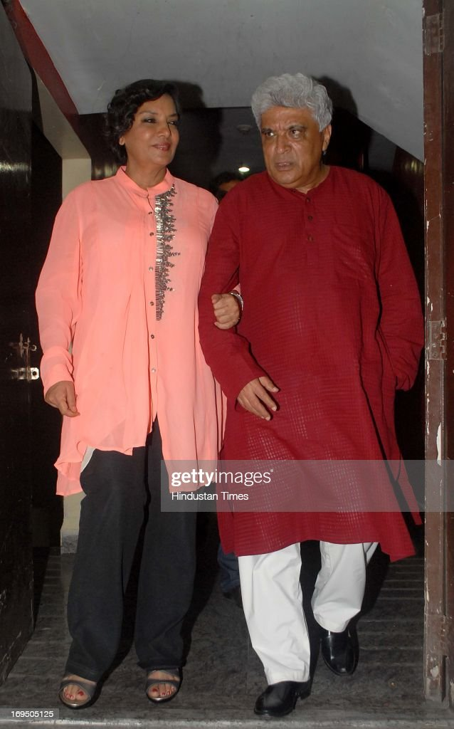Bollywood actor Shabana Azmi along with her husband Javed Akhtar lyricist and scriptwriter during the special screening of film Ishkq in Paris at PVR.
