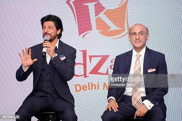 Bollywood actor Shah Rukh Khan and Sanjeev Kumar Director CEO KidZania India during the formal announcement regarding edutainment theme park KidZania...