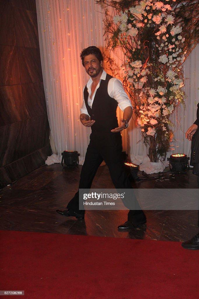 Bollywood actor Shah Rukh Khan at wedding reception of couple Bipasha Basu and Karan Singh on April 30 2016 in Mumbai India Bipasha Basu got married..
