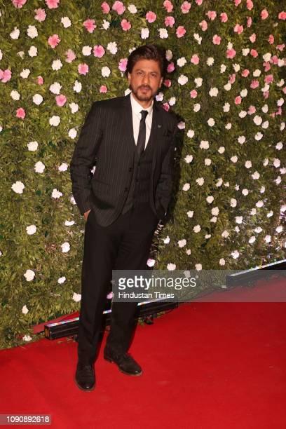 Bollywood actor Shah Rukh Khan attending MNS chief Raj Thackeray's son Amit Thackeray's wedding reception at the St Regis on January 27 in Mumbai...